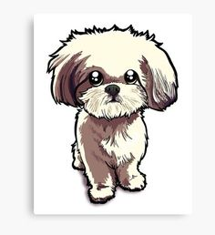 """""""Louie the Shorkie-Tzu : Shih Tzu Yorkshire Terrier (Yorkie) Mix"""" Canvas Prints by Jay Taylor Perro Shih Tzu, Shih Tzu Puppy, Shih Tzus, Yorkie, Shitzu Puppies, Cute Puppies, Cute Dogs, Cartoon Dog, Cartoon Drawings"""