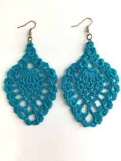 Blue Chandelier Crochet Earrings