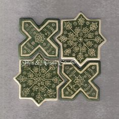 Four part set Islamic style geometric star and cross tiles in forest green and white color - Harun al-Rashid / 6 by TilesAndMosaicStudio on Etsy Arabesque Tile, Arabesque Pattern, Geometric Tiles, Geometric Star, Islamic Tiles, Islamic Art, Hand Carved, Hand Painted, Geometry Pattern