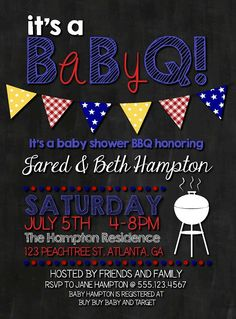Baby Q BBQ Baby Shower Invitation by DarlingSailorDesigns on Etsy Baby Q Shower, Man Shower, Baby Shower Gender Reveal, Couples Baby Showers, Baby Wedding, Baby Sprinkle, Baby Party, Cool Baby Stuff, Baby Shower Invitations