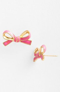 skinny mini bow studs #katespade. I'm getting these in turquoise for my birthday!