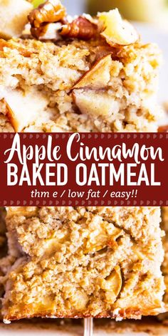 Cinnamon Apple Baked Oatmeal is an easy and delicious make ahead breakfast for t. Cinnamon Apple Baked Oatmeal is an easy and delicious make ahead breakfast for the fall and winter Baked Cinnamon Apples, Baked Oatmeal With Apples, Apple Cinnamon Oatmeal, Apple Oatmeal Muffins, Cinnamon Recipes, Oatmeal Bars, Baked Oatmeal Recipes, Healthy Baked Oatmeal, Baked Apples Healthy
