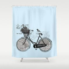 Bicycle Shower Curtain - World map, French - Unique Antique Look Map, Travel Inspired Home Decor, gray and black - Bathroom Peacock Shower Curtain, Red Shower Curtains, Bicycle Sink, Bike, Curtain World, Map Fabric, Tours France, Rustic Curtains, Waterproof Fabric