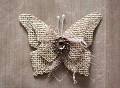 Hello all! I wanted to share this quick and easy tutorial on making your own burlap butterflies. The March Swirlydoos Kit, Salutations, has . Burlap Flowers, Diy Flowers, Fabric Flowers, Paper Butterflies, Butterfly Cards, Twine Crafts, Butterfly Project, Butterfly Ornaments, Burlap Projects