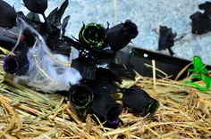 Maleficent Scary Party setup with black roses.