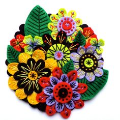 FRIDA KAHLO inspired felt brooch pin with freeform embroidery