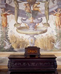 AKG-imágenes -Glimpse of Sala Baglione or Hall of the Grotesque, with frescoes by Cesare Baglione (1525–1590) and a 16th–17th century chest, Rocca Meli-Lupi of Soragna, near Parma, Emilia-Romagna.