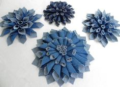 Denim Fabric Flowers, Mum-style