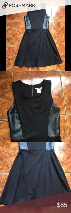"[Bar iii] Black Pleated Flowy Side Leather Dress S Size: Small  Length:33""  Armpit to armpit:13""  Midwaist:(where the line in the middle) 11.5""  The side has faux leather, as shown in pics, the back sometimes gives problems to zip up, nothing horrible but am putting it out there.  *Please pay attention to measurements* Bar III Dresses"