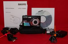 Sanyo VPC-T1060 Digital Camera Manual CD Charger Connectors Battery Case Bundle…