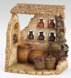 This item has been retired but each year, Fontanini introduces new nativity pieces. Visit us for the latest Fontanini village buildings, villagers and accessories. Christmas Nativity Set, Christmas Diy, Christmas Decorations, Nativity Sets, Christmas Bells, The Wine Shop, Fontanini Nativity, Ceramic Houses, Italian Wine