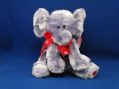 New product 'GUND 14171 Gray Elephant DASHER Red Hearts on Foot' added to Dirty Butter Plush Animal Shoppe! - $16.00 - GUND No. 14171 Plush 8 inch Seated Floppy Gray Elephant DASHER - Light Gray Ears, Hands, Feet - White Felt Toenails - Pi…