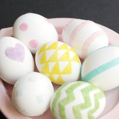 Make these modern and minimal Easter Eggs with just flocking powder and double sided tape!