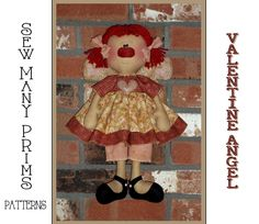 Annie Angel, Primitive Doll Patterns, Ann Doll, Valentine's Day, Raggedy Ann, Cute Dolls, Colorful Pictures, Pattern Making, Valentines