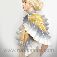 Felted Wool Silk Butterfly Scarf/Wrap/Shawl made from by RudmanArt, $129.00