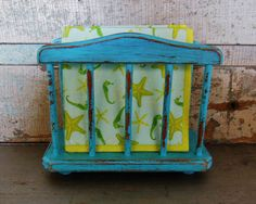 Napkin Holder Distressed Wood Painted You by turquoiserollerset, $10.00