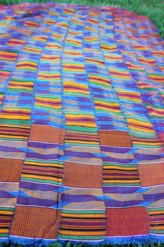 Ewe Kente Cloth from Ghana Africa  Vintage by WomanShopsWorld, $180.00