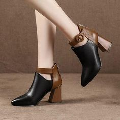 Ankle Martin boots for Autumn and Winter, Pointed Toe zipper high heels warm Snow Boots. High Heels Outfit, High Heel Boots, Heeled Boots, Shoe Boots, Ankle Boots, Dress With Boots, Dress And Heels, Dress Shoes, Women's Shoes
