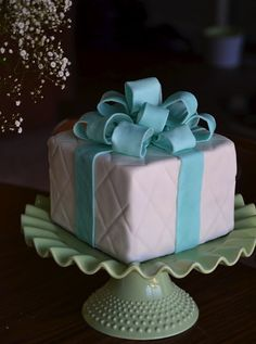 Gift Box Cake Medium by hailey-cakes.com,  you could do any color ribbon