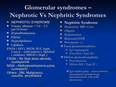 Glomerular Syndromes - Nephrotic vs Nephritic syndrome