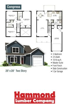 The Congress Is A Two Story Home That 1319 Sq It Has 3 Bedrooms Baths Master Suite Front Porch And 1 Car Garage