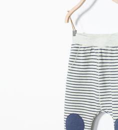 Image 3 of Knee-pad striped leggings from Zara