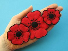 Felt Poppies Tutorial and Poppy Embroidery Pattern PDF sew