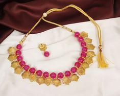 Vishal-Vatika Latest Party Wear Temple Jewelry Gold Plated Pearl Drop Long Polki Pendants Necklace Set