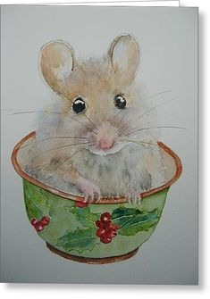 Christmas Mouse Greeting Card by Betty Mulligan
