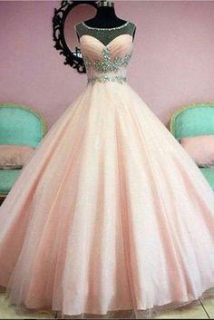 Light orange organza beading see-through long prom dress, princess ball gown prom dresses