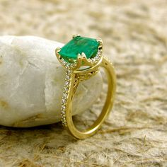 Made to Order Cushion Cut Emerald Engagement Ring in 14K Yellow Gold with Diamonds and Scrolls on Basket Size 6