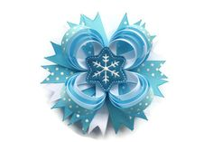 Christmas Winter Snowflake Hair Bow by TheSweetBCollection, $8.49