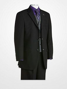 T-Fushion Black Shawdowstripe Vested Suit