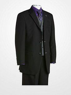 T-Fushion Black Shawdowstripe Vested Suit