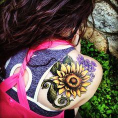 Sunflower tattoo- high contrast