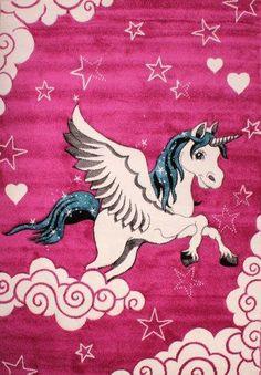 Pink Unicorn Rug Mat Animal Horse Pony Modern Carpet Girl