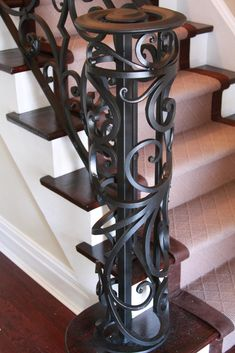 We produce high quality stairways from wrought iron and forged iron in Toronto. Interior railings, fence, staircase and gates are the design products available. Iron Staircase, Wrought Iron Stairs, Wrought Iron Decor, Staircase Design, Interior Railings, Interior And Exterior, Interior Design, Exterior Handrail, Newel Posts