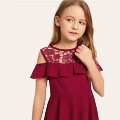 Product name: Girls Floral Print Frilled Trim Shirred Dress at SHEIN, Category: Girls Dresses Preteen Girls Fashion, Girl Fashion, Fashion Dresses, Shirred Dress, Belted Dress, Dress Lace, Girls Party Dress, Girls Dresses, Kids Dress Clothes