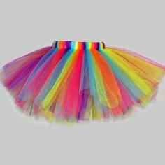 Cute Elastic Waist Multilayered Rainbow Color Bubble Skirt For Girl