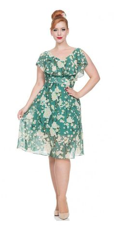 This beautiful Blossom Floral Chiffon Flare Dress is full of the joys of spring. This s is a wonderfully floaty feminine dress made from lightweight chiffon. This dress is simple cut V-neck with a styled bib collar detail that hangs over the fitted bodice.