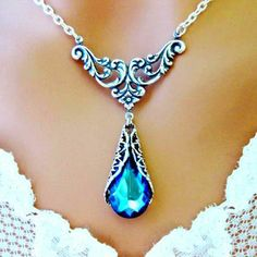 Bermuda Blue Victorian Necklace Peacock Antiqued Silver Wedding - Wedding Jewelry | Bridesmaid
