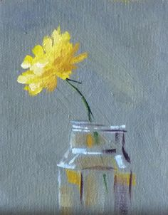 Still Life Oil Painting, Yellow Flower, Floral, Dandelion, Small Original, Minimalist, 4x5, Miniature Canvas Wall Decor. $35.00, via Etsy.