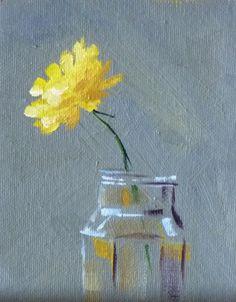 Still Life Oil Painting, Yellow Flower, Floral, Dandelion, Small Original, Minimalist, 4x5, Miniature Canvas Wall Decor. $35.00, via Etsy.