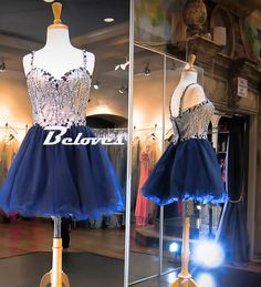 2016 Blue Tulle Sweetheart Cocktail Dress With Beaded Bodice