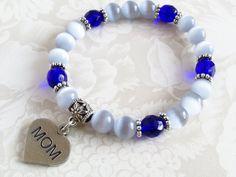 Grey cat's eye stretch bracelet with Mom charm, Mom bracelet, Valentine's day gift, stretchy bracelet