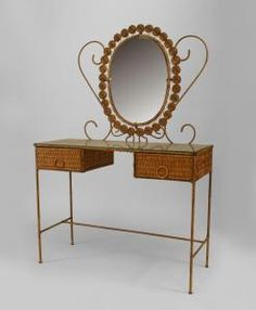 French Victorian style (19/20th Cent) natural wicker dressing table with oval mirror and 2 drawers with glass top