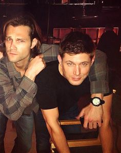 Jared Padalecki and Jensen Ackles with actress Taylor Cole (originally also pictured, but she's been cut out of this edit)