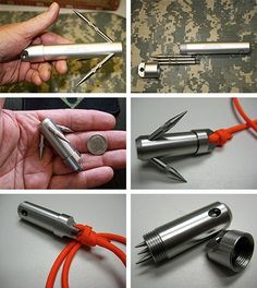 These are great for part-time Ninjas and Superheroes who dont have a utility belt. The Pocket Grappling Hook is $27, the Micro Pocket Grappling Hook version is $22 and both are awesome. The Pocket Grappling Hook is a pocket size Hook(1 x 5.5) , with spikes that unscrew and are stored in the water resistant o-ring sealed body. To use the Micro Grappling Hook just retrieve it from your pocket, unscrew the base to reveal the three tiny spikes, then thread them