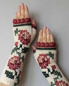 Hand Knitted  Fingerless Gloves, Gift Ideas, For Her, Fashion Accessories, Winter Accessories, Gloves & Mittens, Ivory, Pink, Rose