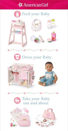 A girl's first baby doll teaches her kindness she'll carry in her heart forever. It's why Bitty Baby is oh-so-huggable and comes with a world where feeding, changing, rocking, and strolling lead to hours of play—and a love that lasts. Shop Bitty Baby's world! #americangirldol #bittybaby Baby Dolls For Toddlers, Bitty Baby, Child Doll, First Baby, Baby Toys, Baby Dress, Toy Chest, American Girl, Toddler Bed